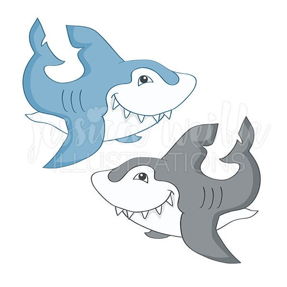 Great White Shark Cute Digital Clipart Shark Clip art Shark