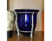 Cobalt Blue Glass Vase with Silver Metal Bamboo Frame Vintage 80's / Bamboo Silver Vase with Blue Glass
