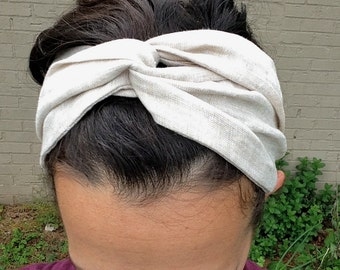 Hair scarf, Natural Linen, turban headband, boho headband, head scarf, head scarves for women, hair wrap, all natural, vegan accessories