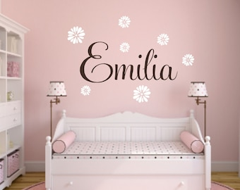Girl Name Wall Decal Etsy - Custom vinyl wall decals flowers