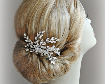 Crystal Bridal Comb, Crystal Rhinestones and Beads Wired Hair Comb, Wedding Headpiece, Silver or Gold - LACEY