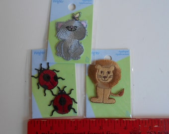 Three Wright's Iron-on Appliques Gray Kitty, Gold Lion, Two Ladybugs Childrens wear