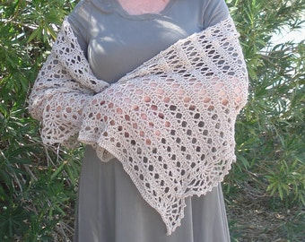 Taupe Crocheted Shawl Shoulder Wrap Acrylic Lace Edged