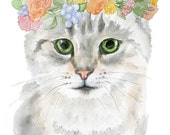 Cat Floral Watercolor Painting 4 x 6 - Giclee Print Reproduction - Cat Lover - Girls Room Nursery Decor