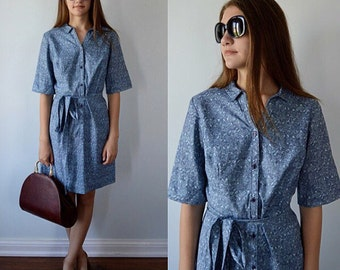 Vintage Cotton Casual Dress, 1960s Dress, Country Corner, Blue Paisley Print Cotton Dress, Casual Dress, Day Dress