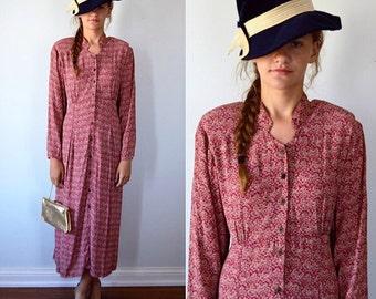Vintage Dress, April Cornell, 1980s Dress, Vintage Casual Dress, Long Sleeved Dress, Cottage Chic
