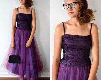 Vintage Prom Dress, Vintage Evening Dress, Wedding, Formal, 1990s Evening Dress, Tea Length Dress, Scene