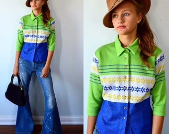 Vintage Top, Vintage Blouse, 1980s Top, Todd Oldham, Todd Oldham Seven Times 7, Cropped Top, Knit Top