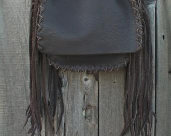 Brown shoulder bag with fringes , Soft brown leather handbag