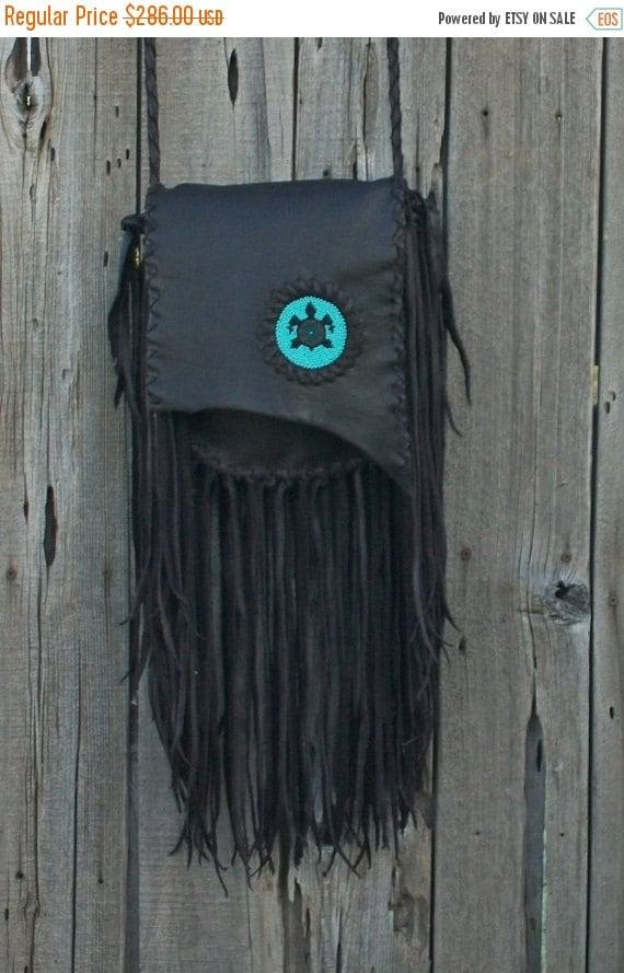 ON SALE Handmade crossbody bag with beaded turtle totem , Fringed leather handbag
