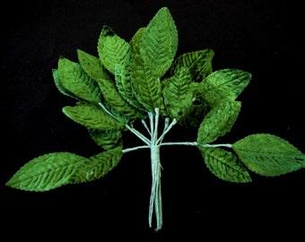 3 Vintage Wired 1940's Green Velvet Millinery Fabric Leaves Supplies for Flower Arrangements Bouquet Hat Making Fascinator Accessories OCJ