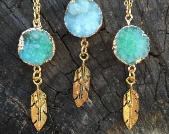 Aquamarine Druzy Stone Necklace/ Blue Druzy Pendant/ Natural Gem Stone/ Crystal Jewelry/ Boho Bride/ Feather Pendant/ Minimal Pendant