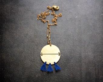 Boho Brass Tiny Tassel Pendant Necklace Cobalt Blue Brushed Metal Satellite Chain Festival Jewelry Geometric Fringe