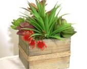 Wooden Planter filled with Artificial Succulents, Desktop Planter, Tabletop Garden