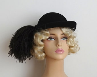 Vintage 1940s Hat - 40s Ostrich Hat - The Celine