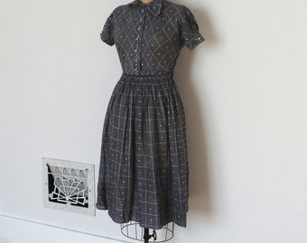Vintage 50s Dress - 1950s Cotton Dress - The Meg