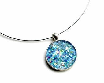 Glitter Jewelry, Faux Opal Necklace, Pendant, Druzy, Gift for Her