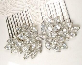 OOAK Antique Art Deco Rhinestone Bridal Hair Comb Pair Vintage 1920 Silver Marquise Crystal Leaf Dress Clip Hairpiece Hollywood Glam Wedding