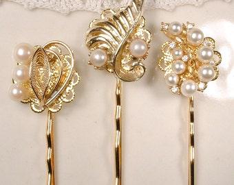 Pearl Rhinestone Gold Leaf Bridal Hair Pins, OOAK TRIFARI Wedding Bobby Pins Set 3 Bridesmaid Gift Rustic Chic Vintage Modern Woodland Clips