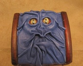 "Grichels leather and wooden trinket box - ""Sumly"" 27518 - blue with red and gold slit pupil shark eyes"