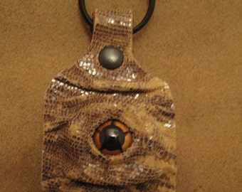 Grichels leather keychain - cream and black faux snakeskin with copper star eye