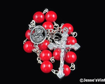 Auto Rosary Pocket Red Glass Bead 1 Decade Silver Rosary Beads