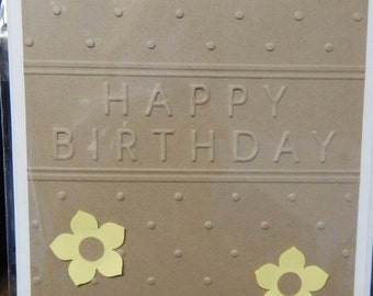 Handmade Brown with Yellow Flowers Birthday Card