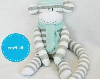 Craft Kit, Sock Monkey Kit - Grey and White Stripes  with Light Aqua Hat