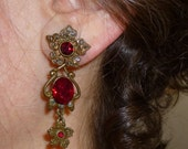 Vintage Garnet Red Crystal Two Earrings In One Stud Dangle Art Nouveau Style Earring By Sweet Romance