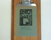 Vintage Solid Wood Stempco Clipboard with 1930 Nursery Rhyme Block Print