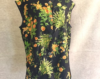 Vintage 60's Retro Apron or Smock in Black, Green, and Yellow Floral, Cotton, Large
