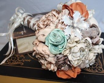 "Bridal bouquet, wedding bouquet Peach, blush, ivory, mint, coffee and orange – handmade flowers – ready to ship – 10"" bouquet"