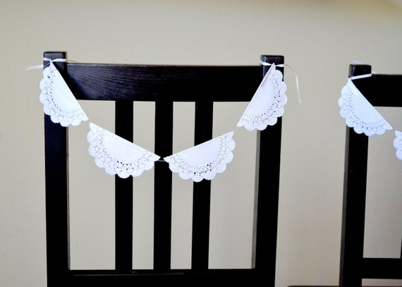 Chair Garland - paper lace doilies