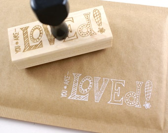 Shop Exclusive rubber stamp - You are Loved - modern lettering with pattern - you are loved stamp