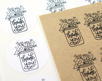 Shop Exclusive - THANK YOU! mason jar stickers with flowers, scroll version - modern calligraphy hand lettered stickers