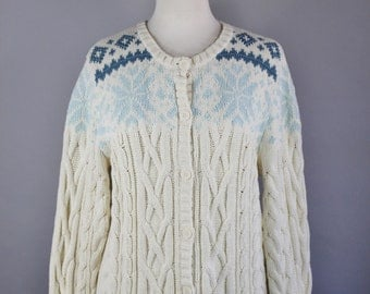 Vintage 90s Women's Cream Snowflake Eddie Bauer Cable Knit Fall Winter Back to School Nordic Fair Isle Cardigan Sweater