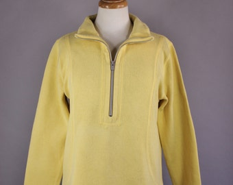 Vintage 90s Women's Bright Yellow Tommy Bahama Cotton Zipper Pullover Sweatshirt