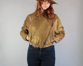 Vintage 80s Women's Rustic Fashion Gold Dust Leather Brown Southwest Modern Prairie Fall Jacket Coat
