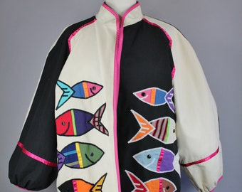 Vintage 80s Women's Fish Applique Unique Rare Gallery Artist Modern Art Cotton Fall Spring Jacket