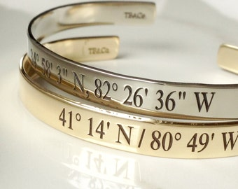 Custom Engraved Coordinates Bracelet . Latitude Longitude Jewelry . Personalized GPS Jewelry . Tatum Bradley