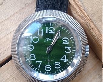 Vintage huge watch, mens watch, green watch,