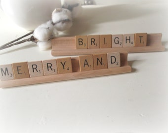 Merry and Bright Scrabble Sign Rustic Farmhouse Christmas