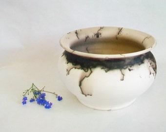 Horsehair  Burned onto Porcelain Vase - Black and White Vase - Handmade - Wheel thrown