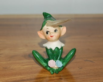 Vintage, 1950's Norcrest Porcelain Pixie / Elf with Real Hair holding Flowers ~ Excellent Condition w/ Label