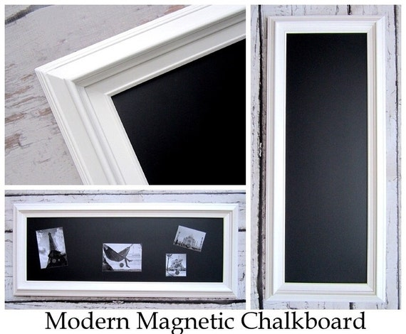 white framed chalkboard long and narrow kitchen chalkboard 41x17 magnetic chalk board wood