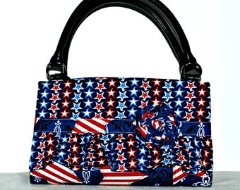 Red White Blue Ruffled Magnetic Bag Shell Cover