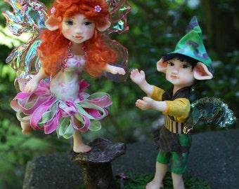 """OOAK Fairy """"Juvia And Loki"""" Fantasy Polymer Clay Art Doll with Base"""