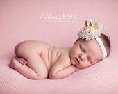 Let Them Eat Cake gold pink aqua mint and ivory metallic glitter felt crown headband bow clip