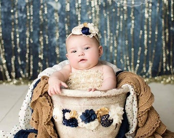 Winter Dawn- navy, ivory and metallic gold rosette and burlap headband and sash set