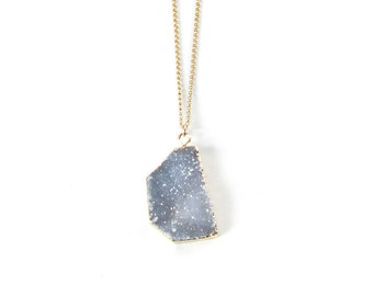 Gray Druzy necklace on gold filled chain